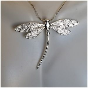"""Jewelry - Silver Dragonfly Pendant 1.5"""" long"""